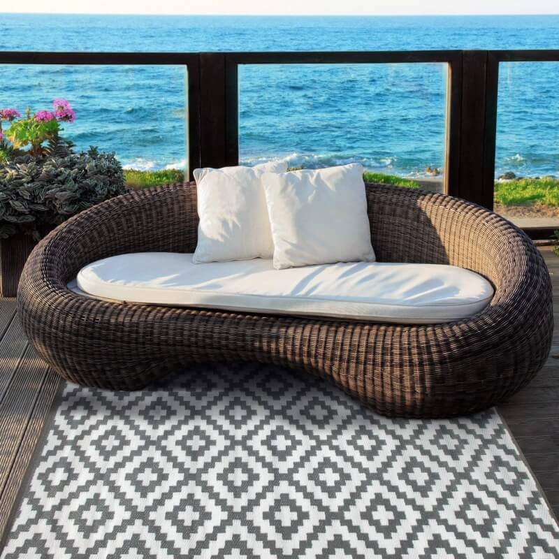 Green Decore All Weather Rain Proof Quality Outdoor Reversible Plastic Rug