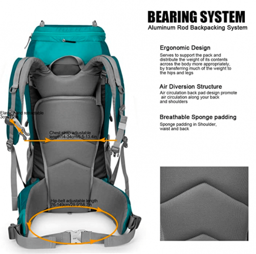 Mountaintop 55L/80L Hiking Backpack with Rain Cover 2