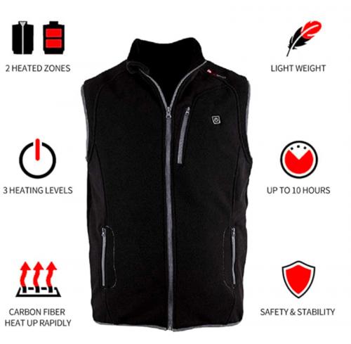 PROSmart Heated Vest Polar Fleece Lightweight Waistcoat with USB Battery Pack