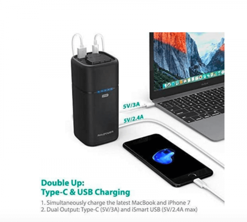 AC Portable Laptop Charger RAVPower 20100mAh AC Outlet Power Bank 65W(Max) External Battery