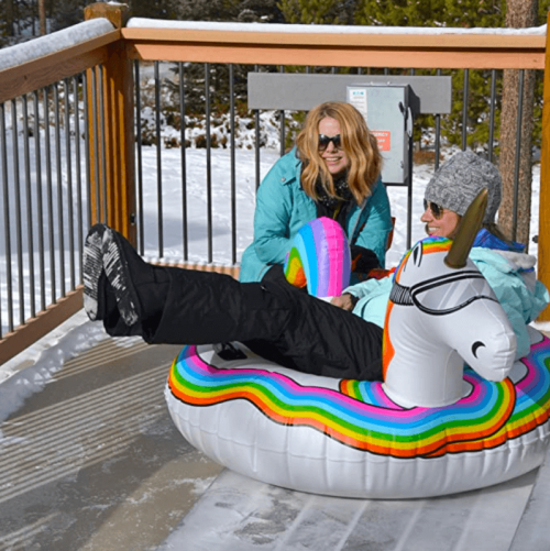 GoFloats Winter Snow Tube - Inflatable Toboggan Sled for Kids and Adults